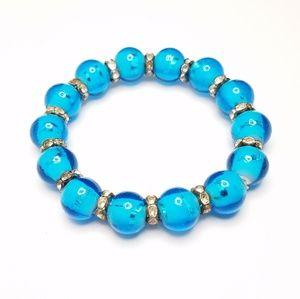 Jewelry - Clear Blue Glass Bead Rhinestone Stretch Bracelet